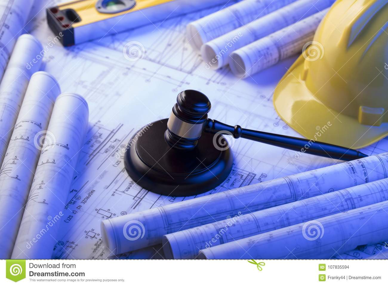 Labor and construction law concept stock photo image of blueprint gavel libela helmet and blueprint rolls place for text and logo malvernweather Images