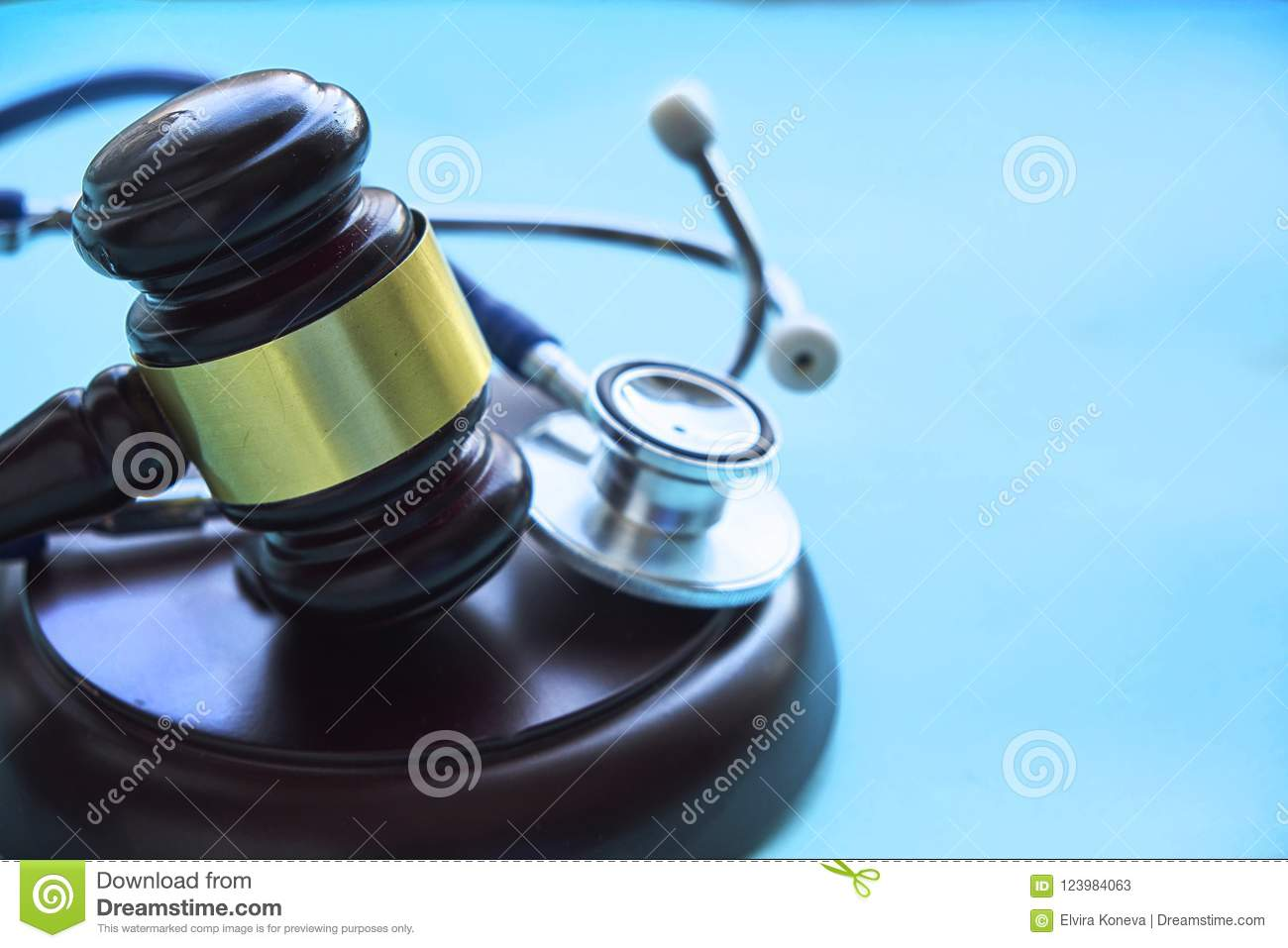 Gavel and stethoscope. medical jurisprudence. legal definition of medical malpractice. attorney. common errors doctors