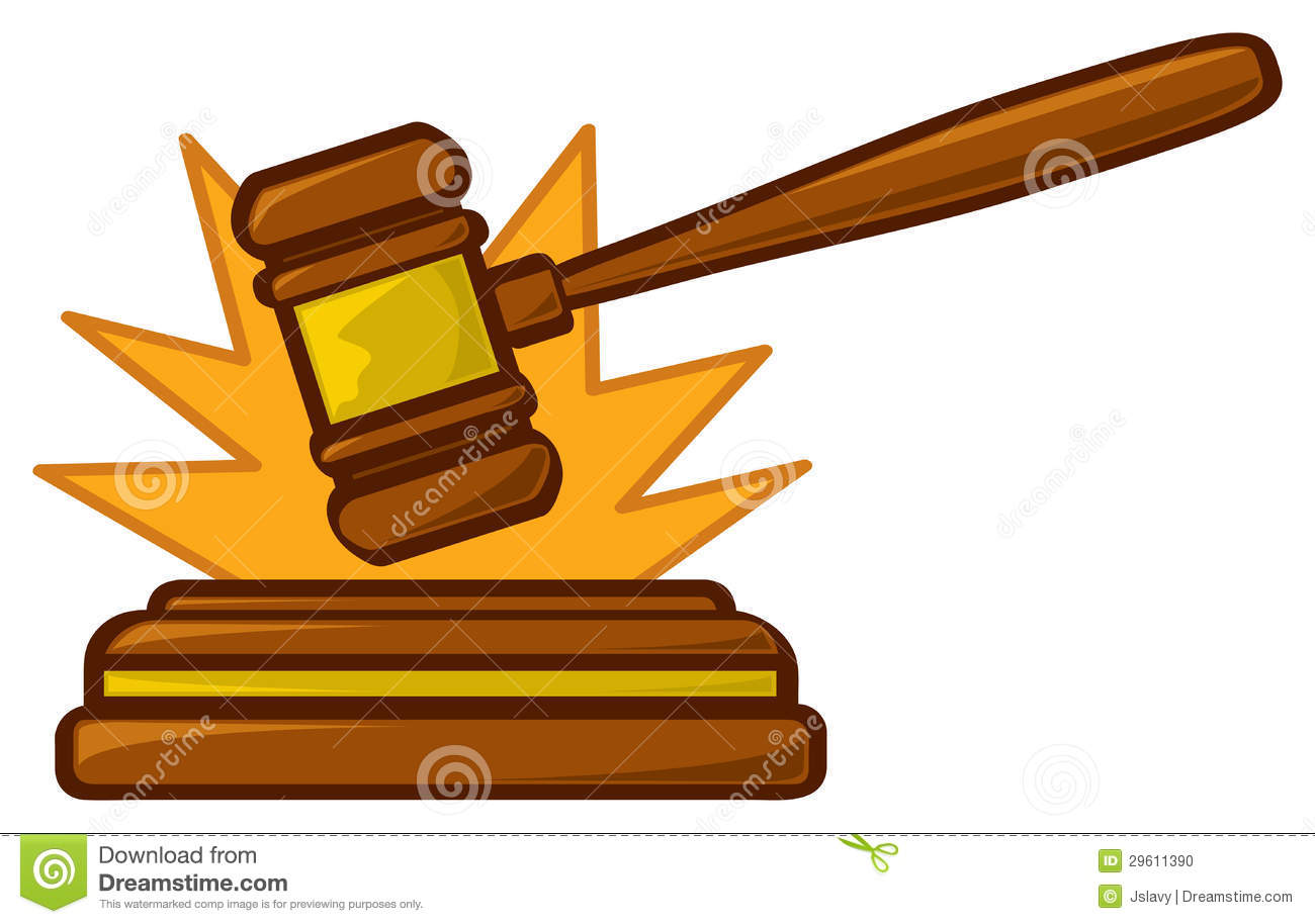 A Cartoon Judges Gavel Striking Sounding Block