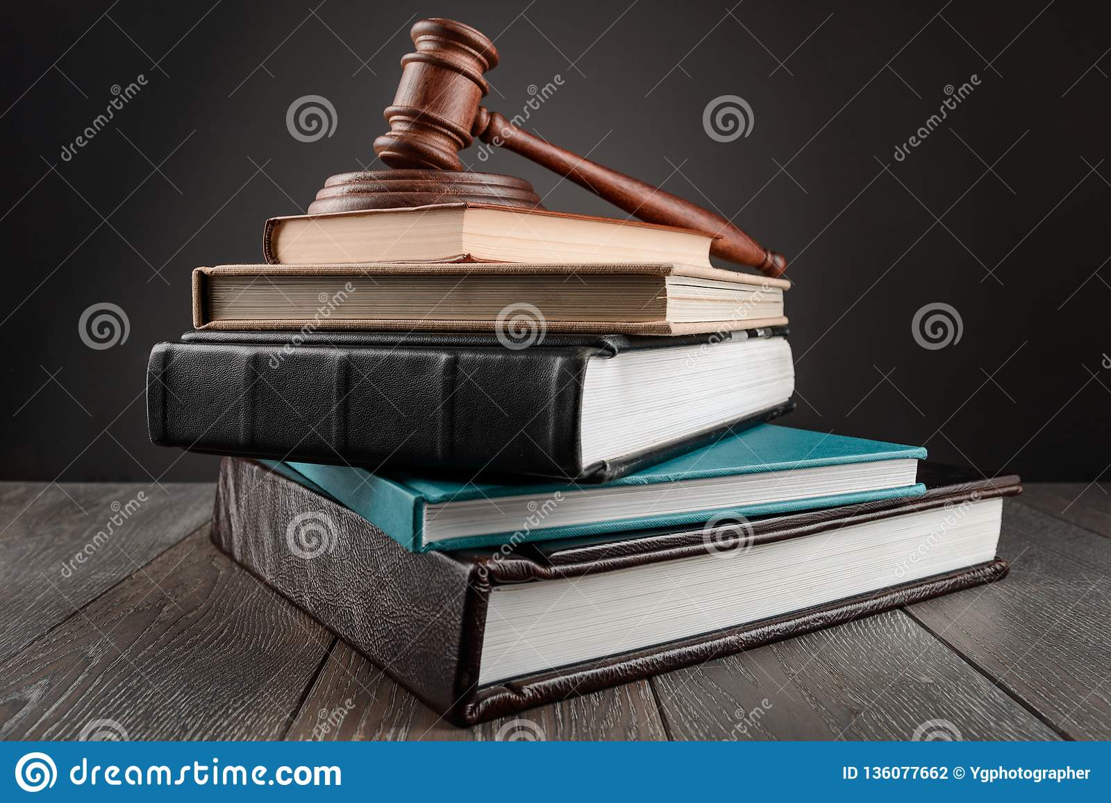 Gavel on top of books stock photo  Image of justice - 136077662