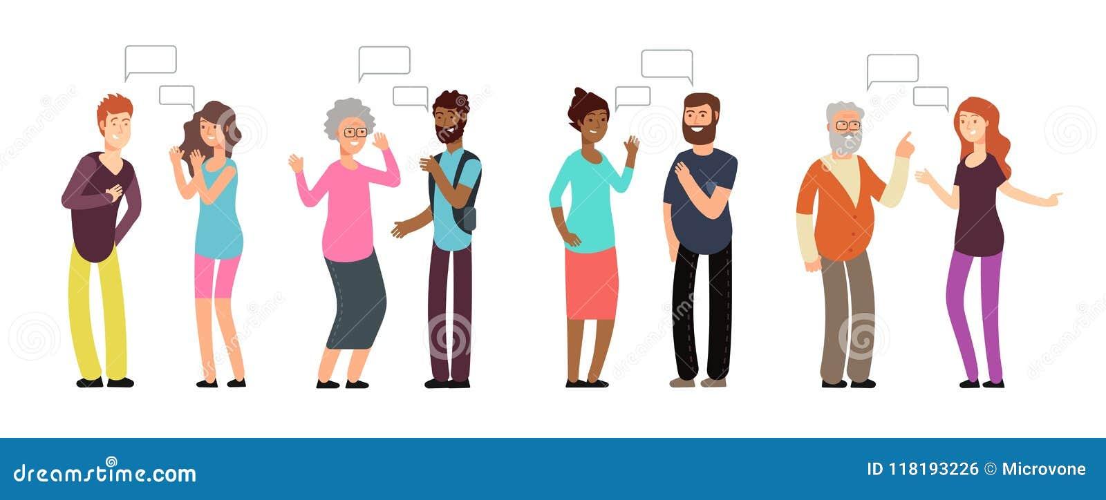Gawędzeń persons Ludzie grupują w rozmowie Mężczyzna i kobiety dyskutuje z główkowanie bąblem Wektorowa komunikacja
