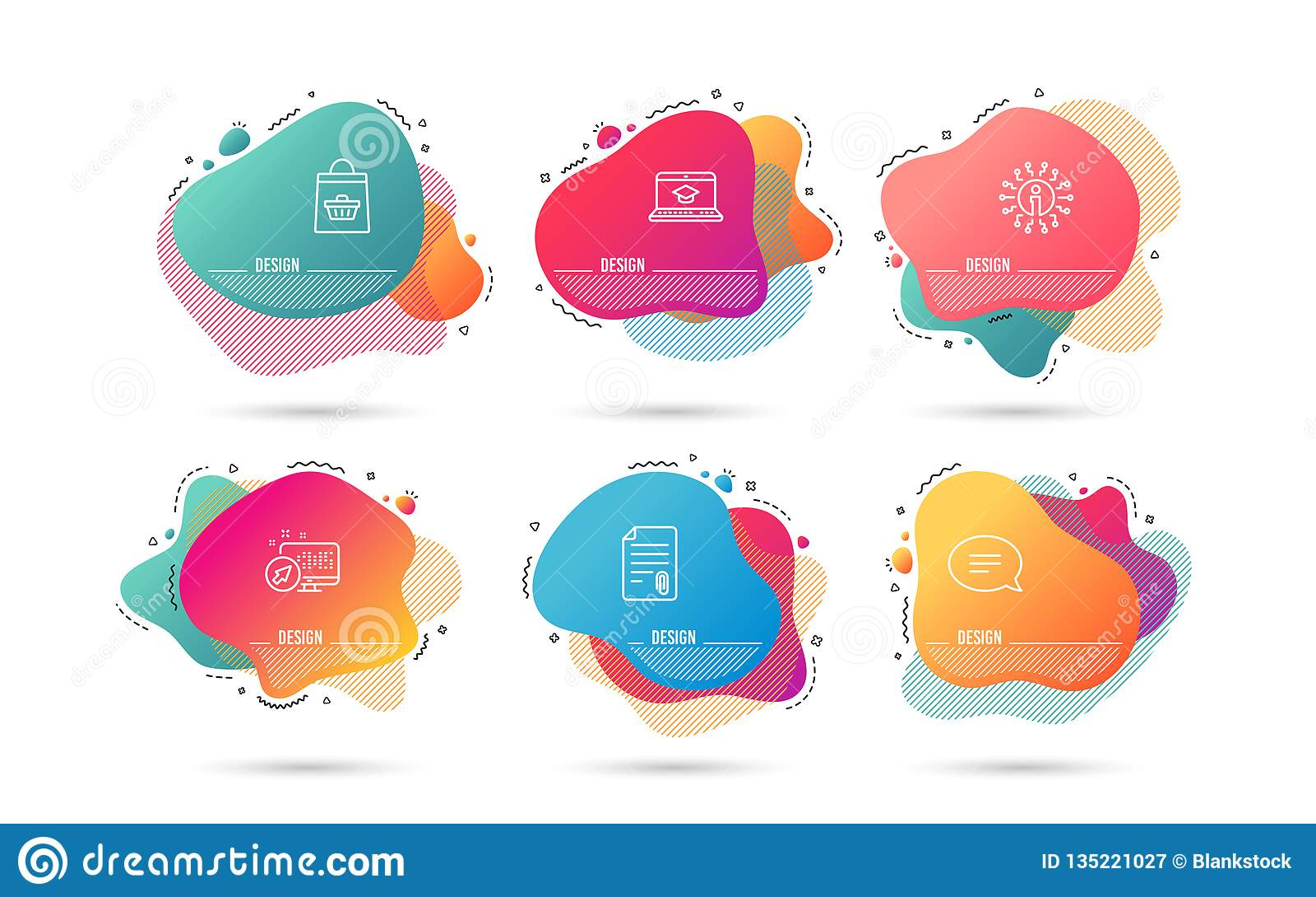 Gawędzi, strony internetowej edukacja i Online kupienie ikony Doczepianie znak Mowa bąbel, Wideo uczenie, wózek na zakupy wektor
