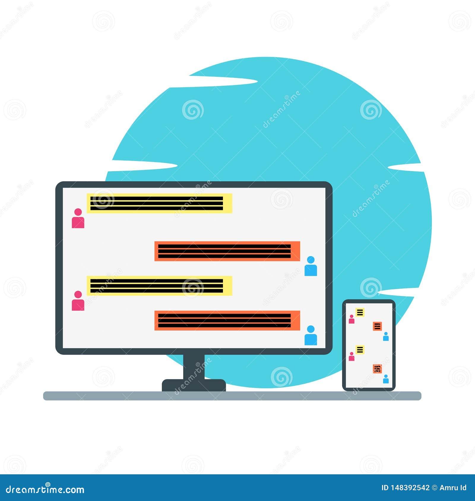Gawędzi wiadomości na komputerze osobistym i dzwoni płaską projekt ilustrację