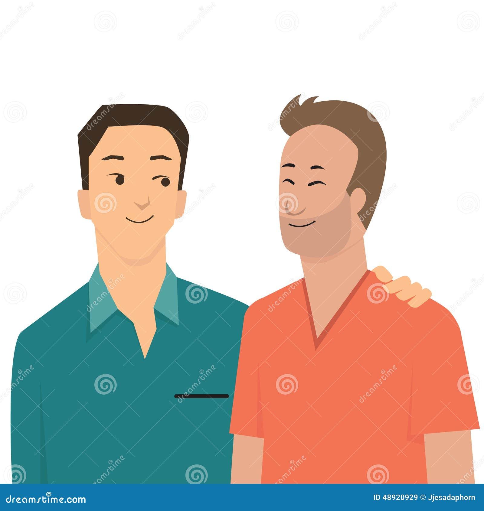 Love Each Other Cartoon: Gay Couple Stock Vector
