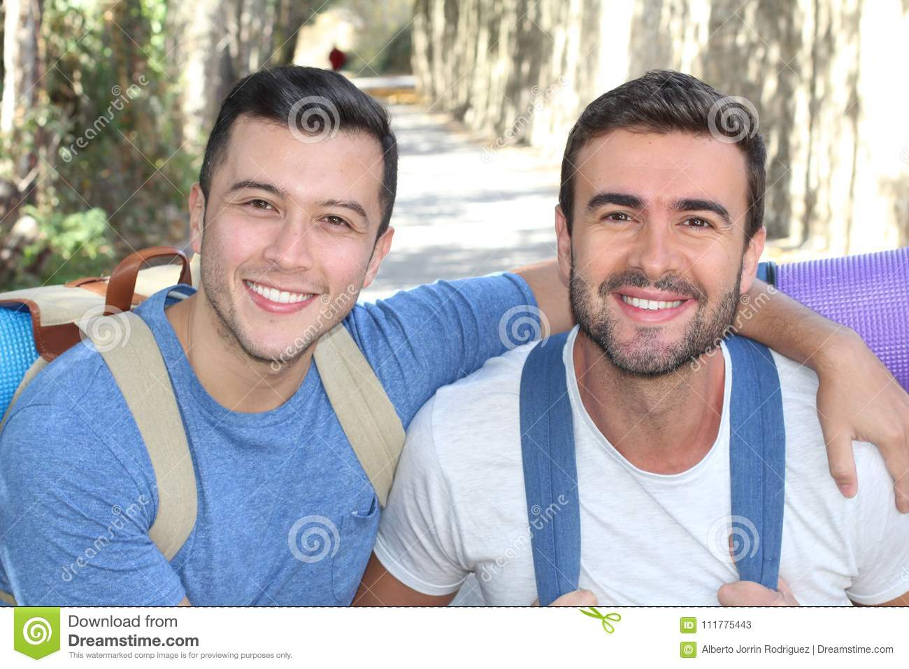 Gay couple enjoying a hike