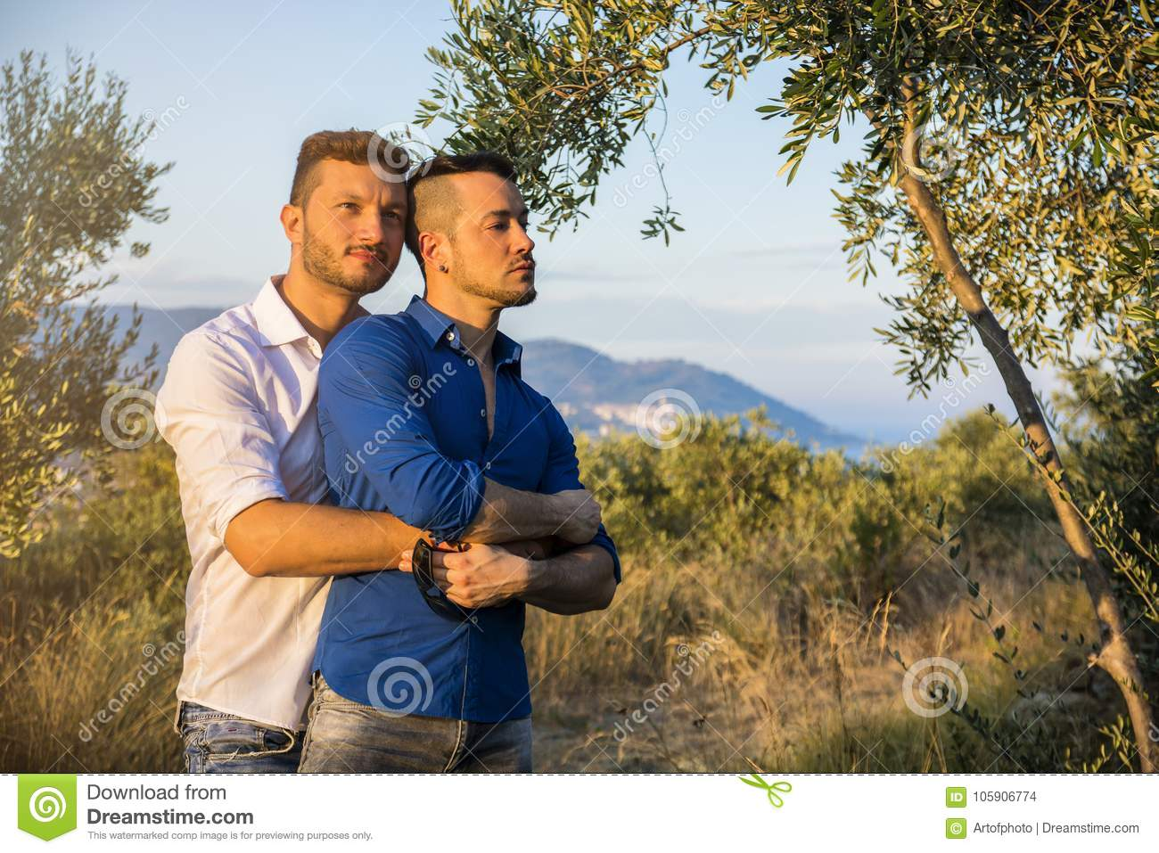 Gay couple in nature