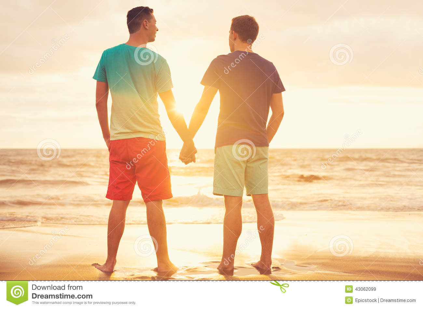 On the beach Happy gay couple