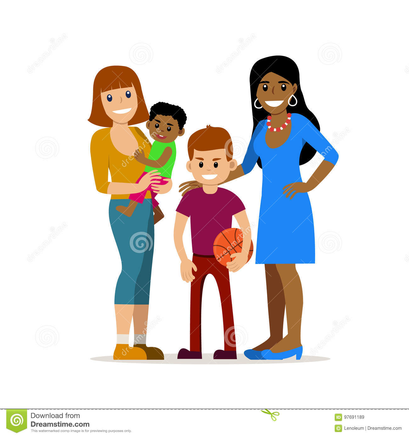 Happy gay family - women and baby vector image