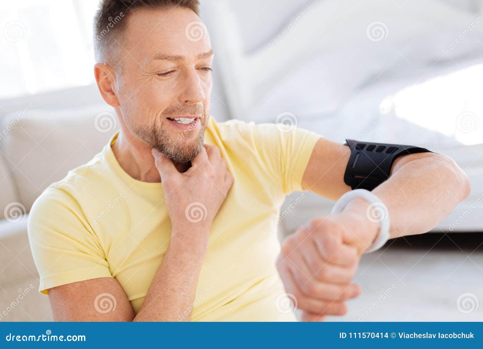 Gay Happy Man Fixing Heart Indicators Stock Photo - Image of