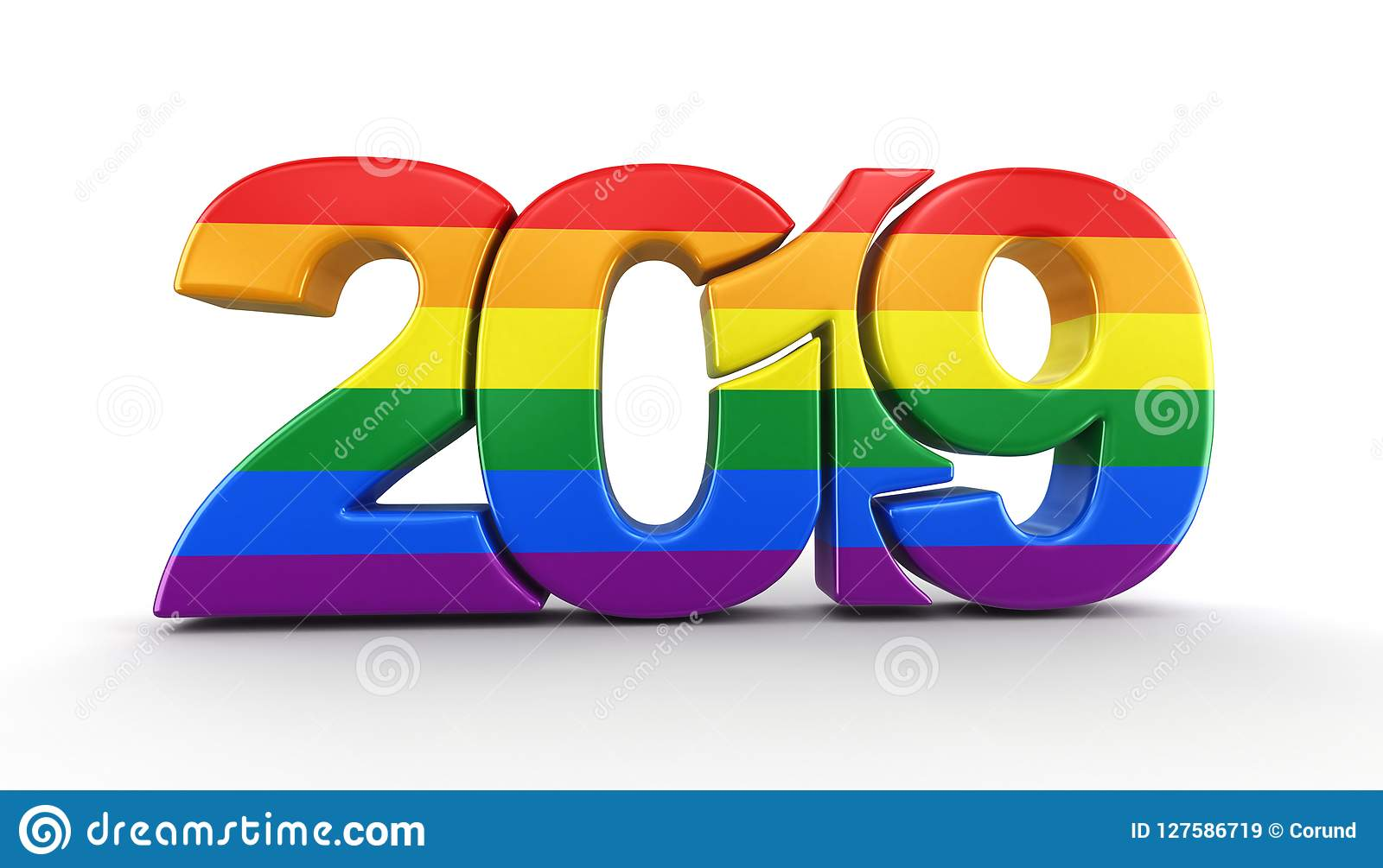 Gay pride color new year 2019 stock illustration - New year 2019 color ...
