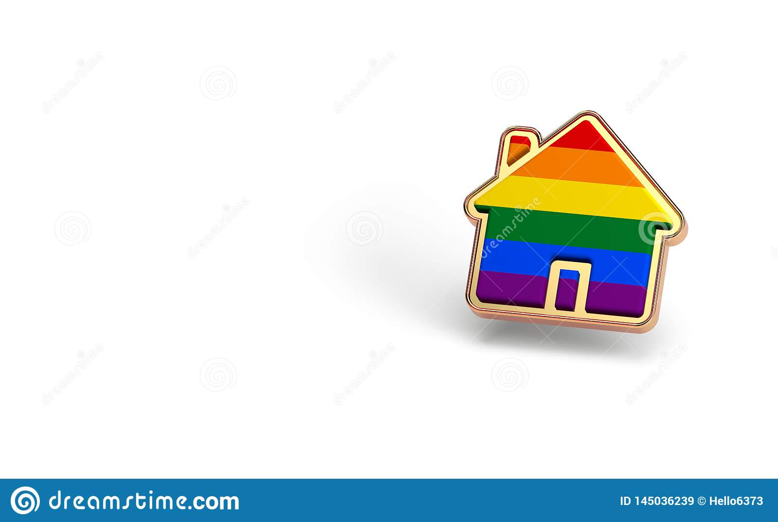 Gay pride rainbow in a home shape isolated on white background. Copy space on the left side. LGBTQ people rights to live together
