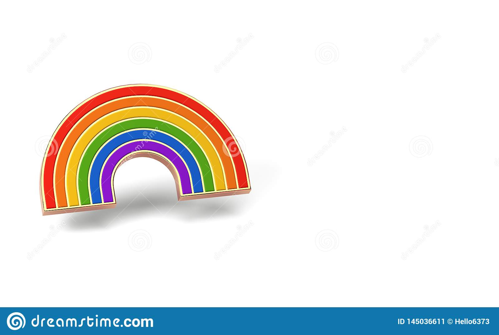 Gay pride rainbow isolated on white background. Copy space on the left side. LGBTQ and homosexual minority pride symbol concept.