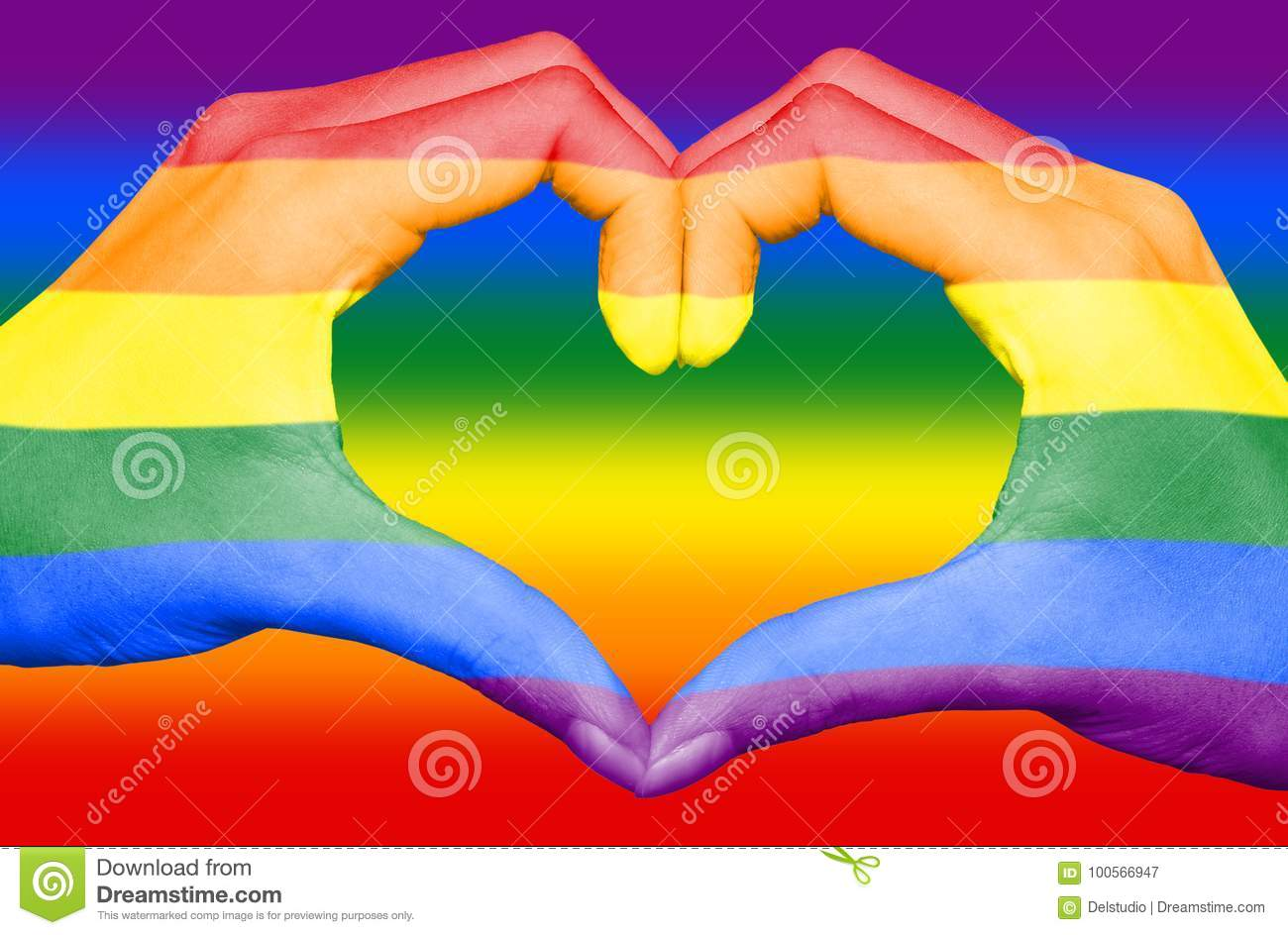 Gay rainbow flag painted on hands forming a heart on rainbow background, gay love concept