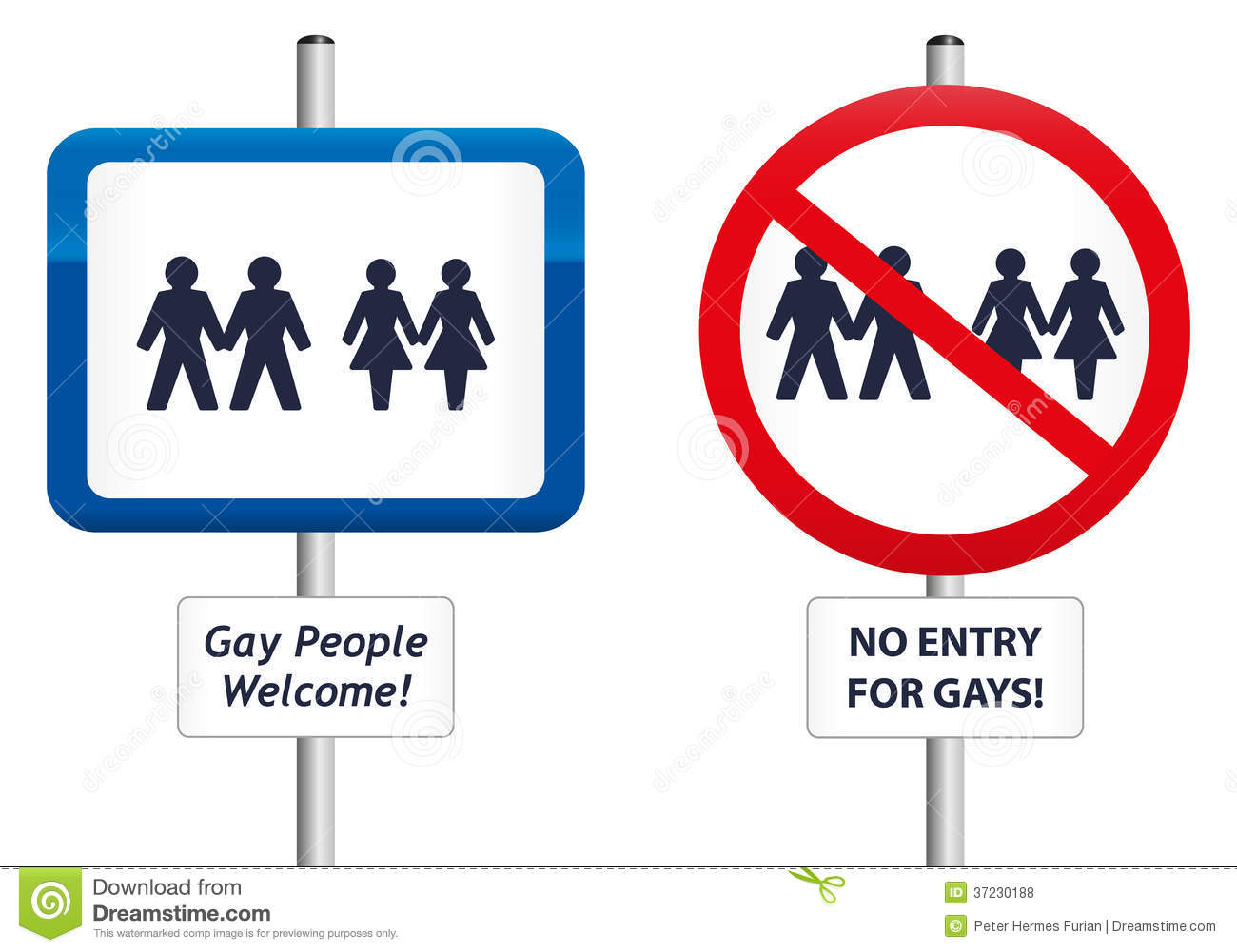 Two signs, the first one welcomes gay people, the second homophobic ...