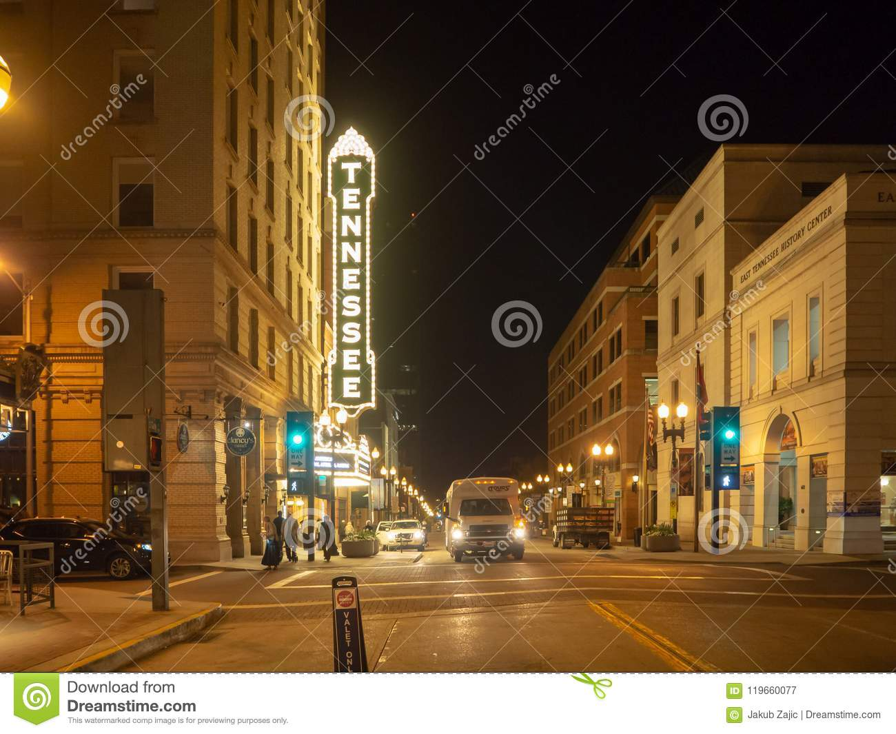 Gay Street, Knoxville, Tennessee, United States of America: [Night life in the center of Knoxville]