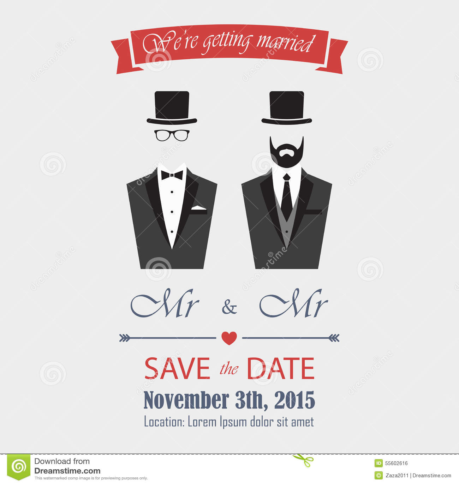 royalty free vector download gay wedding invitation - Same Sex Wedding Invitations
