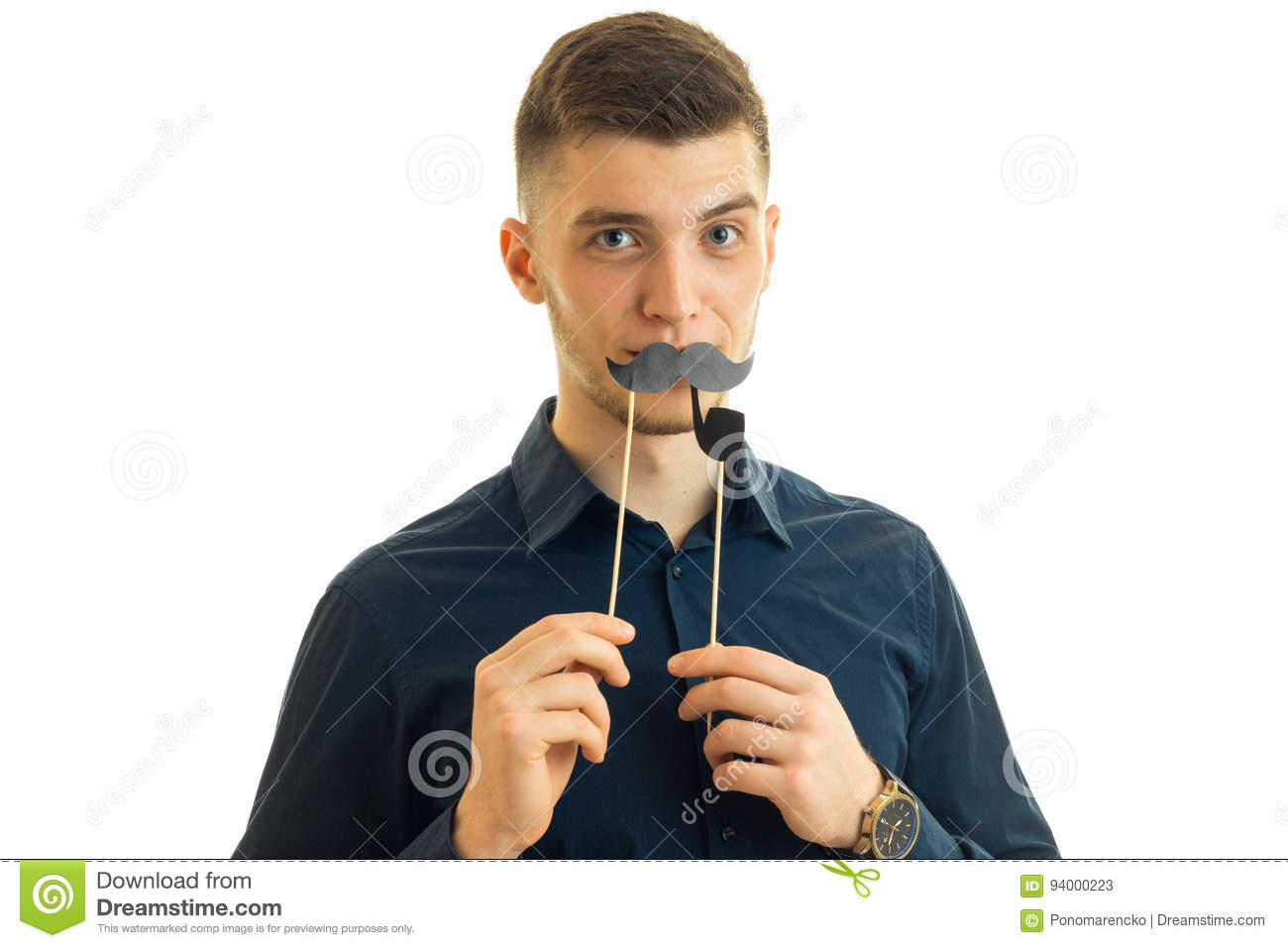 Gay young guy Hamming in camera with paper mustache