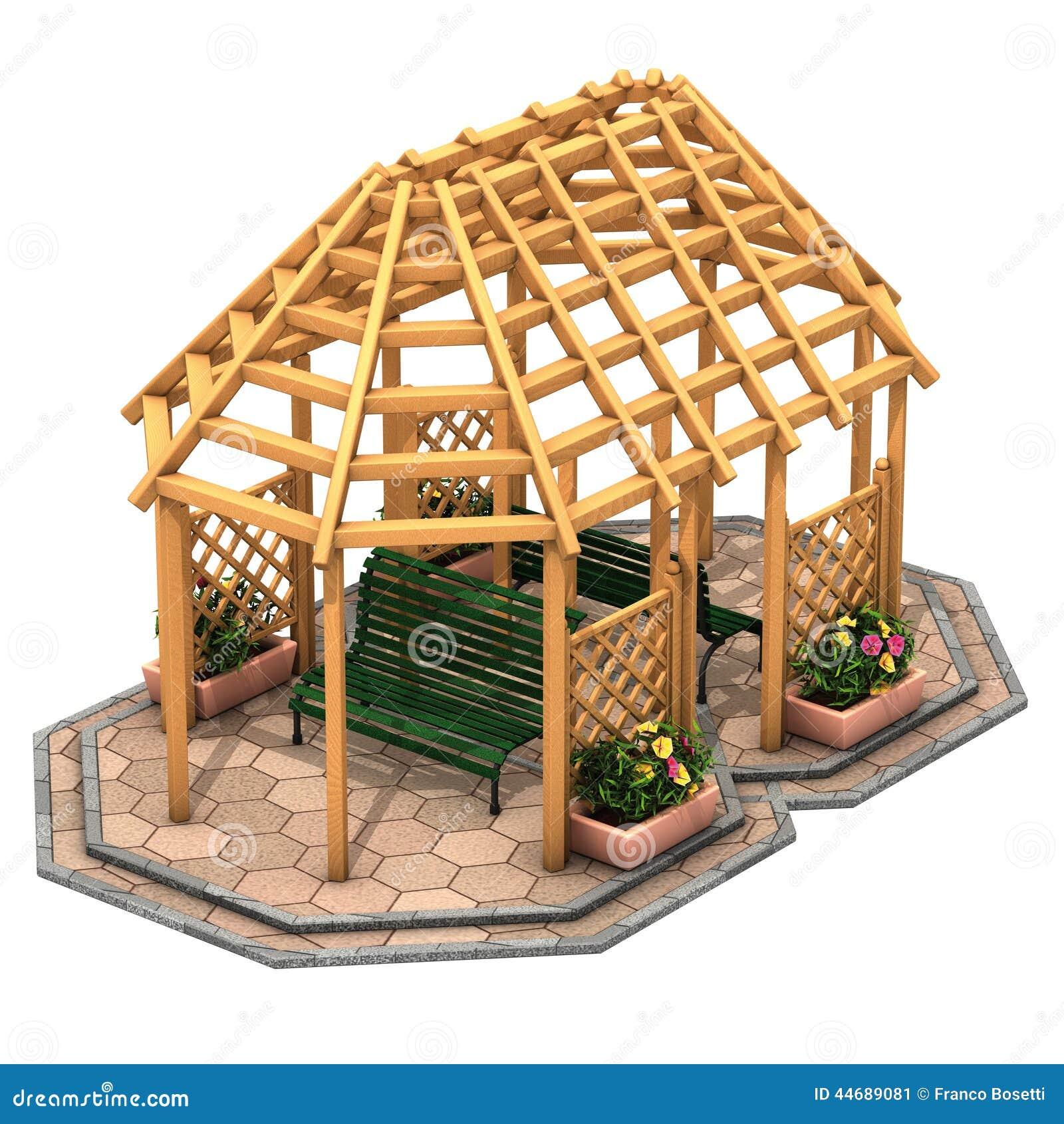 Gazebo di legno della capanna illustrazione di stock for Planimetrie della casetta di legno