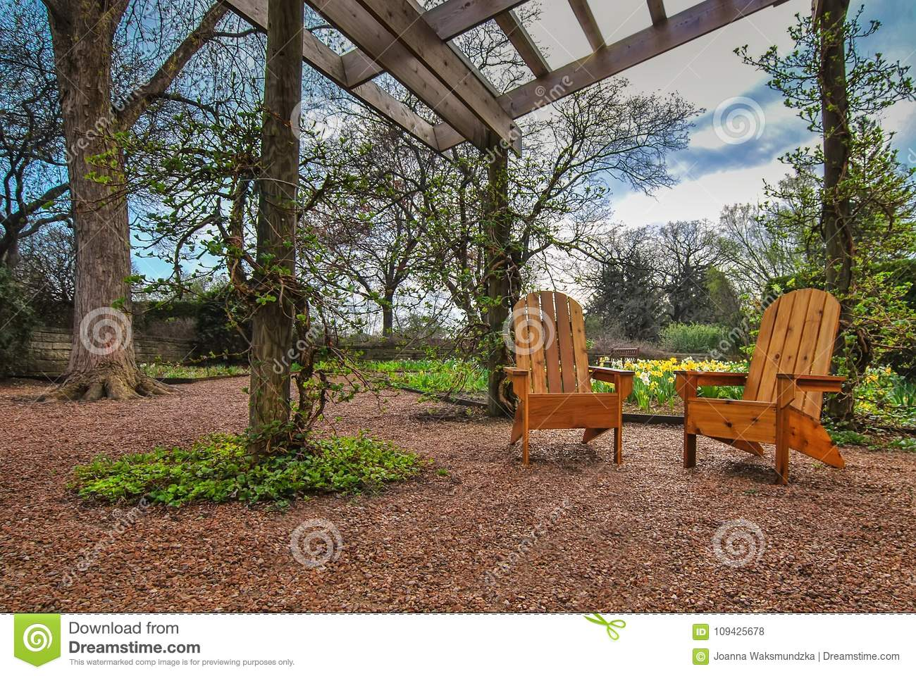 Gazebo Garden With Wooden Chairs Stock Photo - Image of plants ...