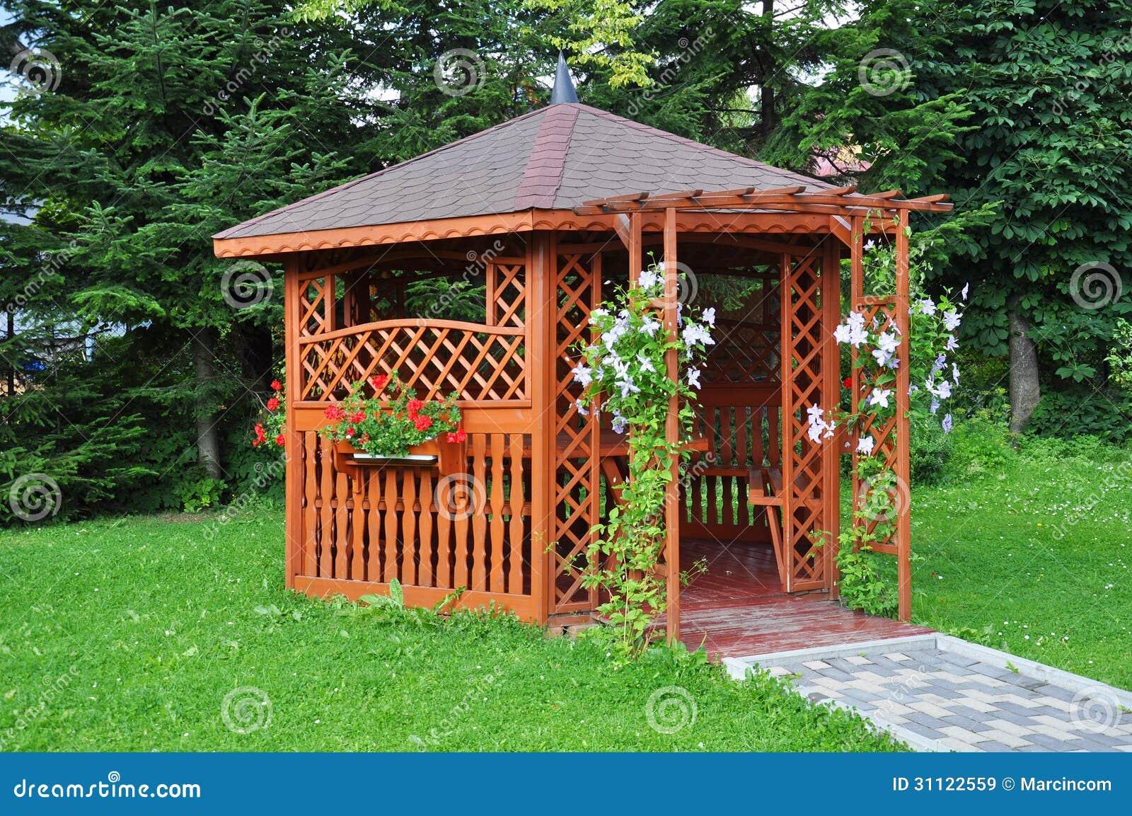 Gazebo In The Garden Wooden House Royalty Free Stock