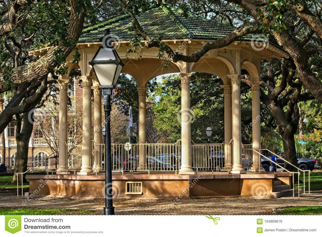 Gazebo Located In White Point Gardens On The Battery In Historic ...