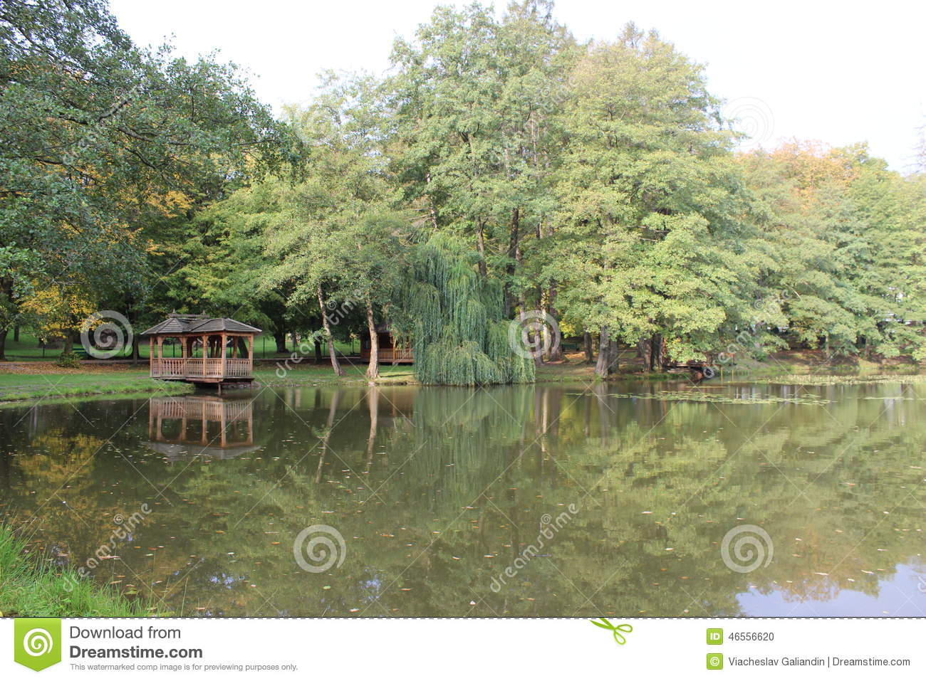 Gazebo on the pond royalty free stock image for Pond dealers