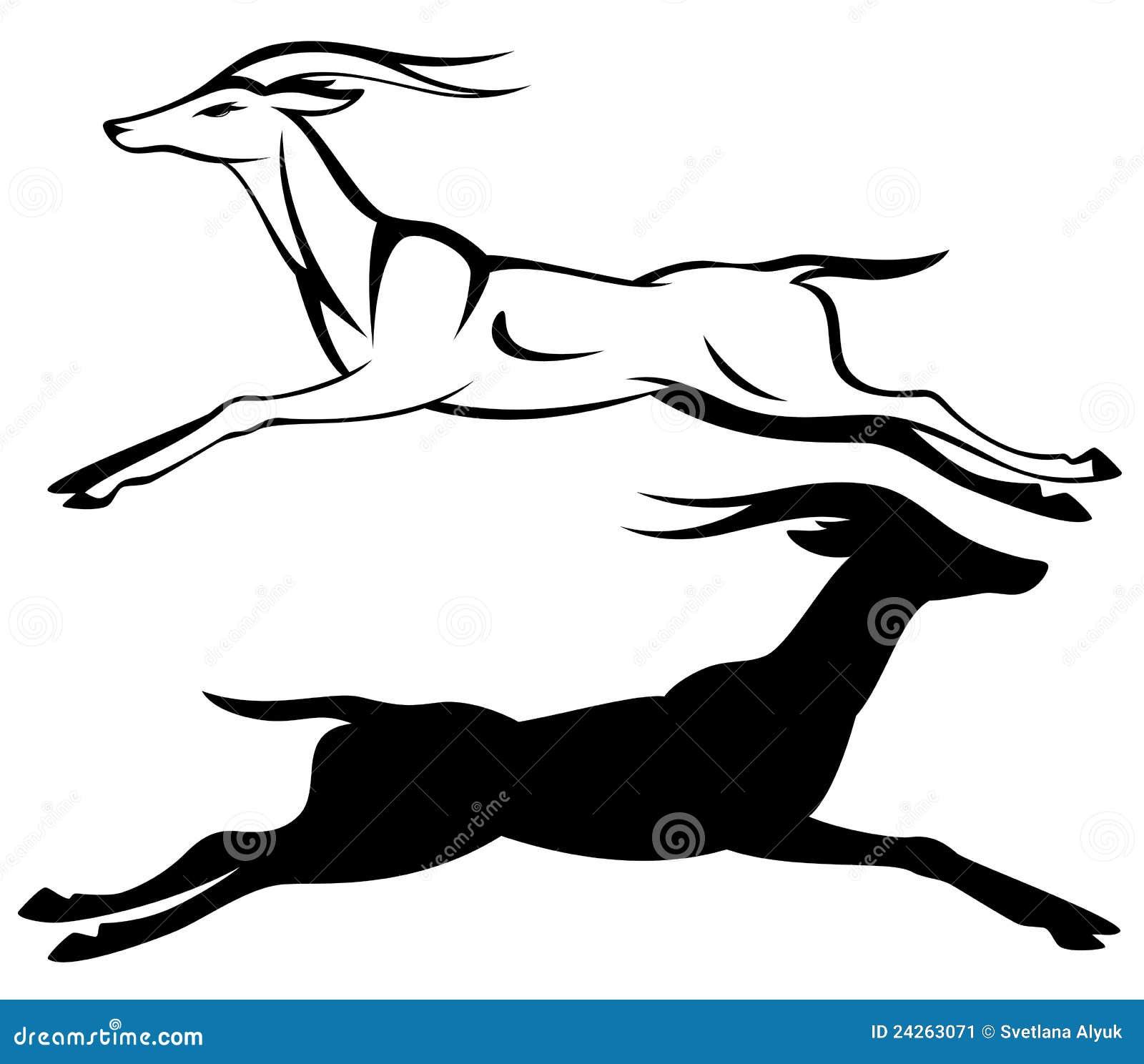 Running antelope black and white outline