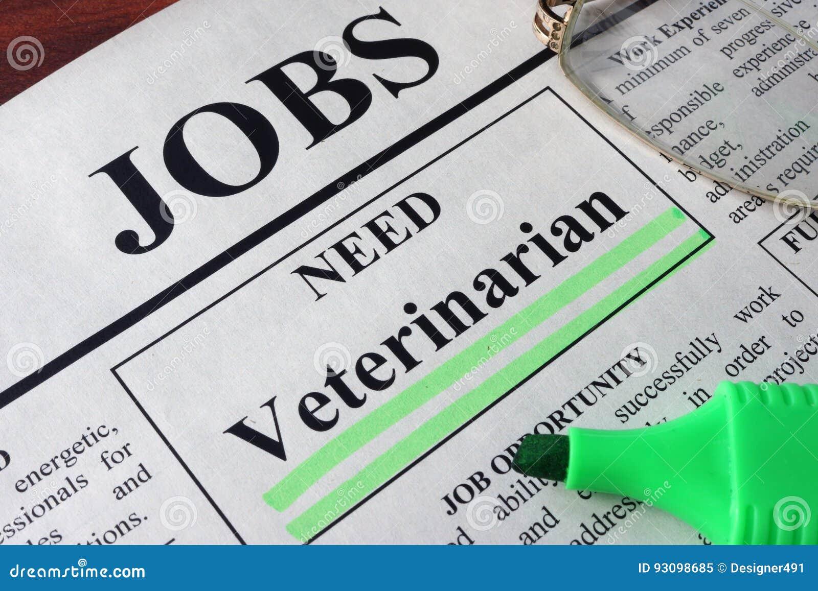 Gazeta z reklamami dla wakata weterynarza