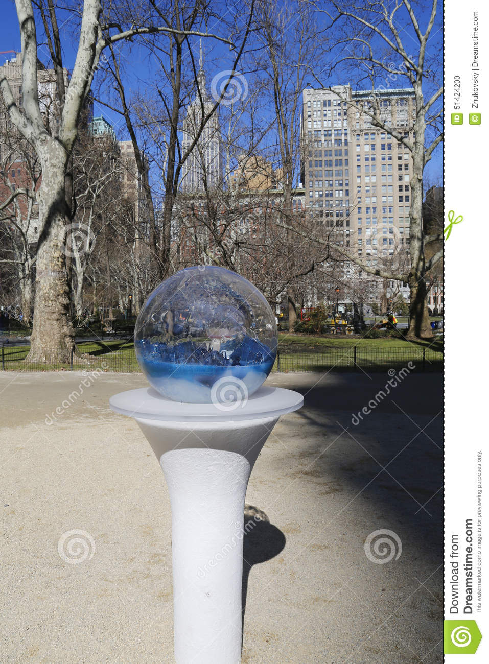 Gazing Globes installation by Paula Hayes in Madison Square Park.