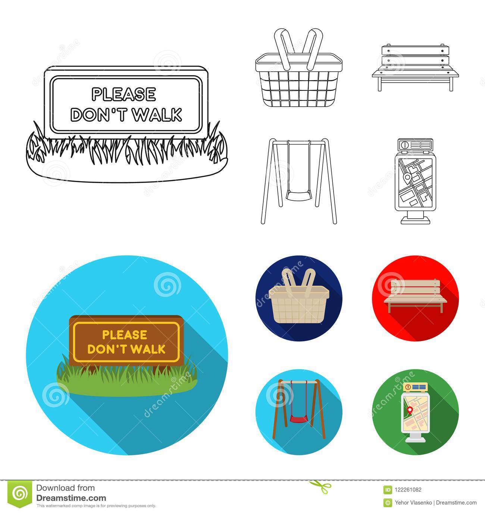 Gazon met een teken, een mand met voedsel, een bank, een schommeling Pictogrammen van de park de vastgestelde inzameling in overz