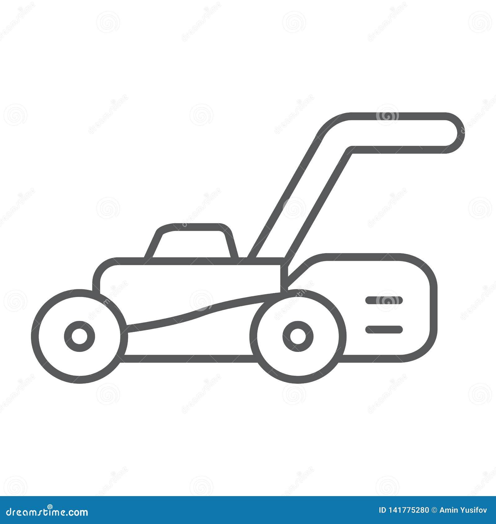 Gazon wnioskodawcy cienka kreskowa ikona, wyposażenie i ogród, krajacza znak, wektorowe grafika, liniowy wzór na białym tle