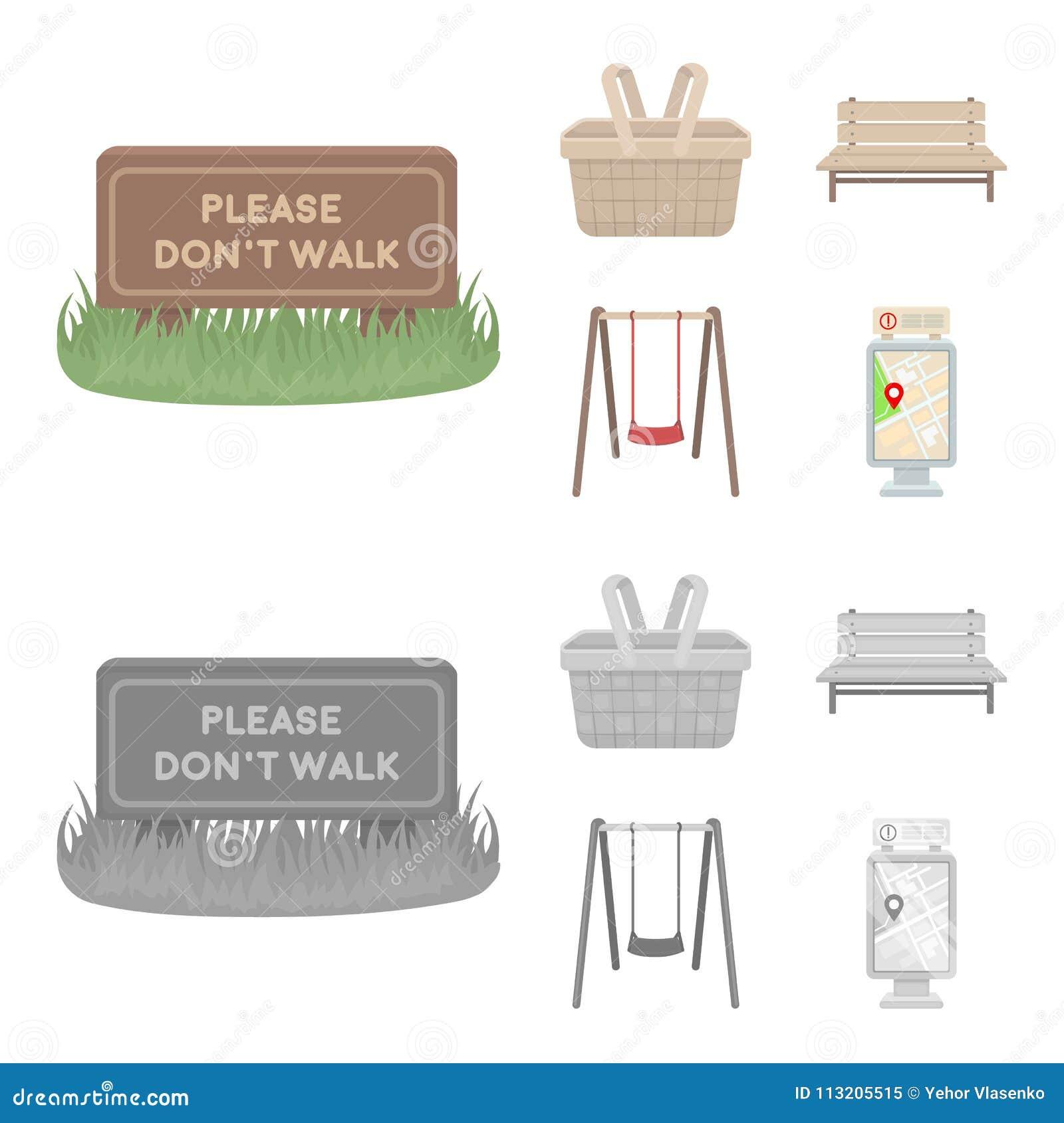 Gazon z znakiem, kosz z jedzeniem, ławka, huśtawka Parkuje ustalone inkasowe ikony w kreskówce, monochromu stylowy wektor