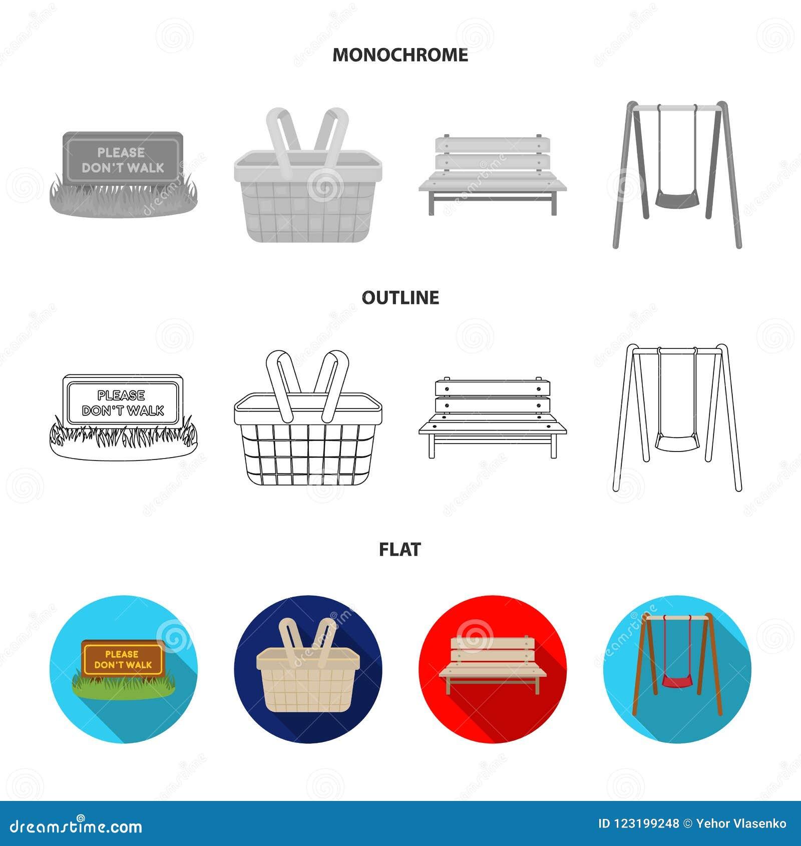 Gazon z znakiem, kosz z jedzeniem, ławka, huśtawka Parkuje ustalone inkasowe ikony w mieszkaniu, kontur, monochromu styl