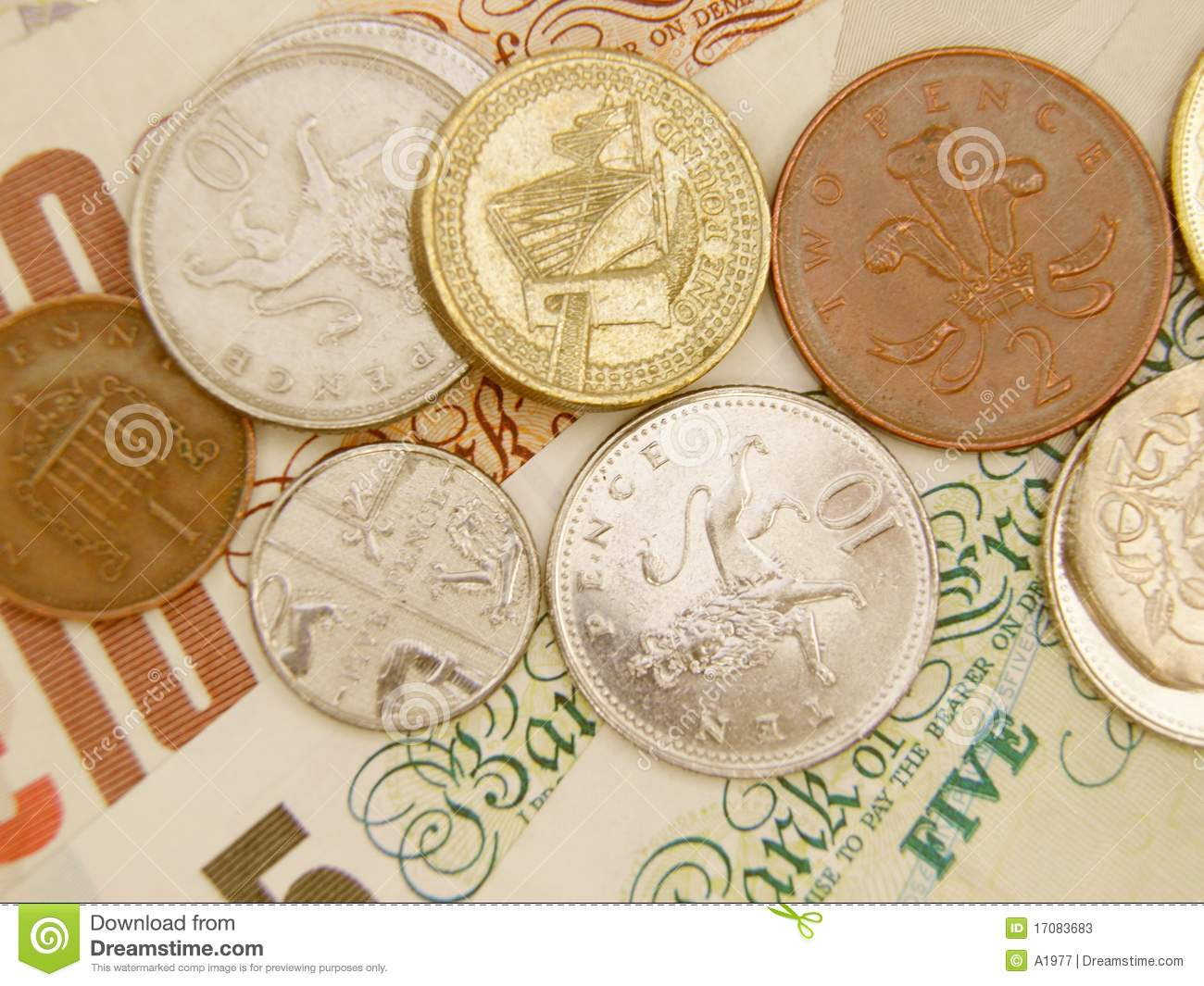 GBP banknotes and coins stock image  Image of mint, save