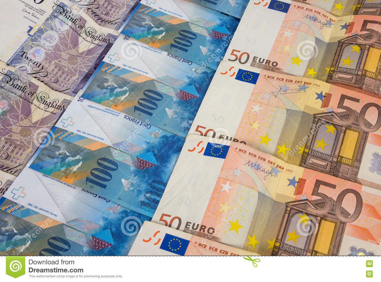 Gbp Euro And Chf Banknotes Stock Photo Image Of Currency 82311510
