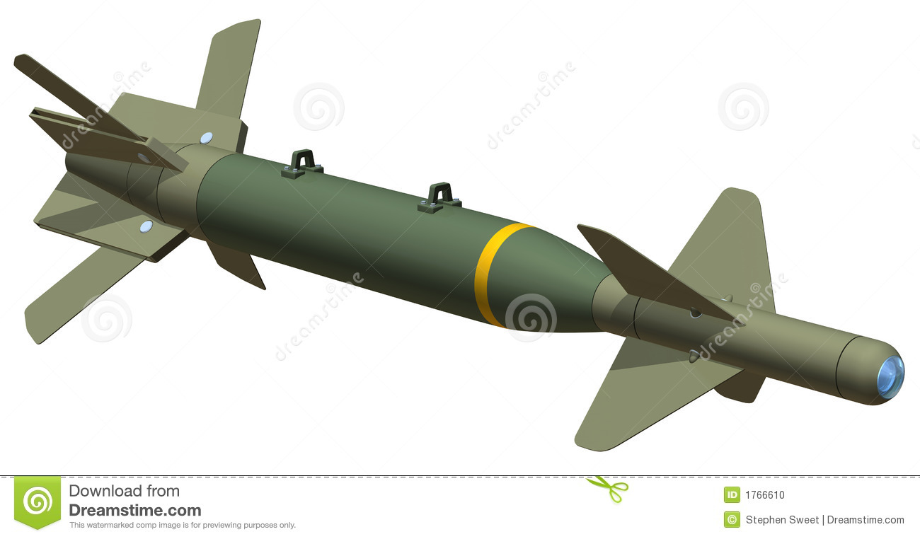 3D rendering of a GBU24 smart bomb, isolated on white background.