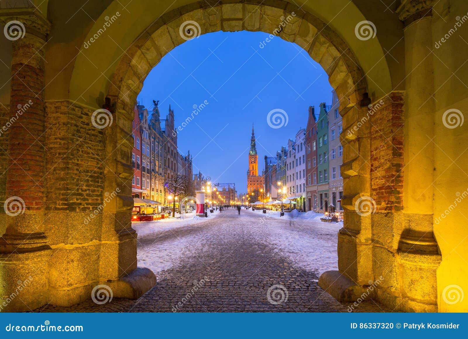 Gdansk in de sneeuwwinter, Polen