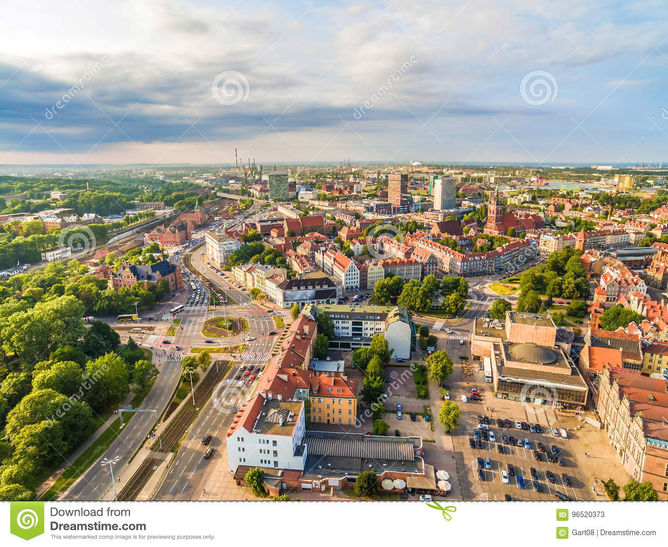 Gdansk - Downtown From The Bird`s Eye View  Gdansk City