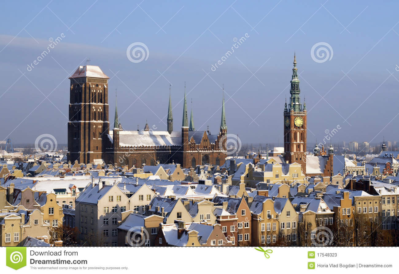 Gdansk Downtown Landmarks In The Winter Stock Photos - Image: 17548323