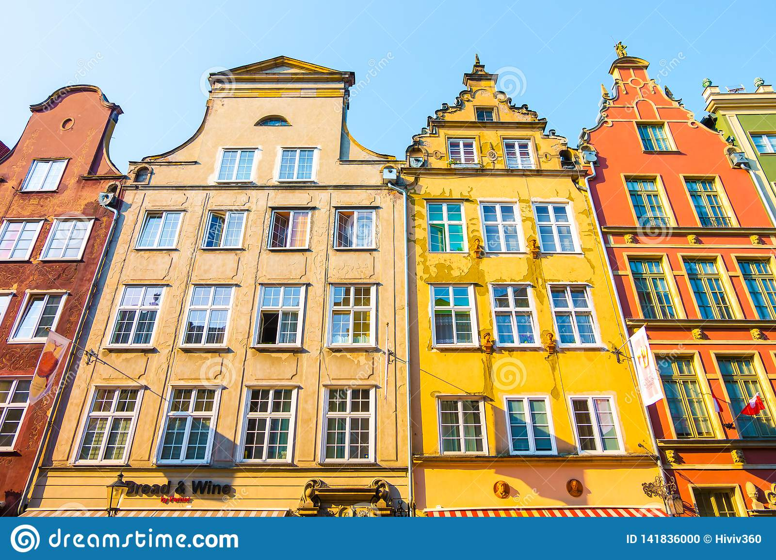 GDANSK, POLAND - AUGUST, 2018: Long Market Street, typical colorful decorative medieval old houses, Royal Route Architecture of