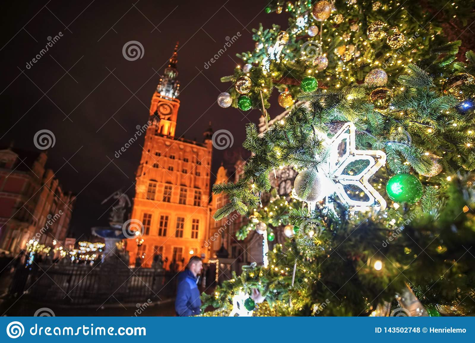 Gdansk, Poland - December 13, 2018: Christmas decorations in the old town of Gdansk , Poland