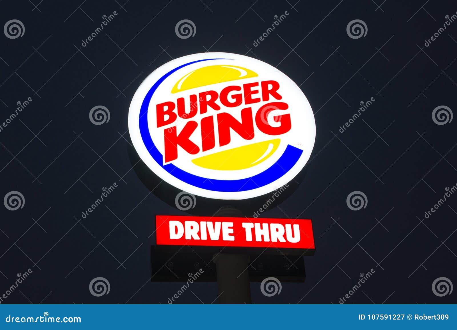 Download Burger King Logo At Night Editorial Photography Image Of Symbol