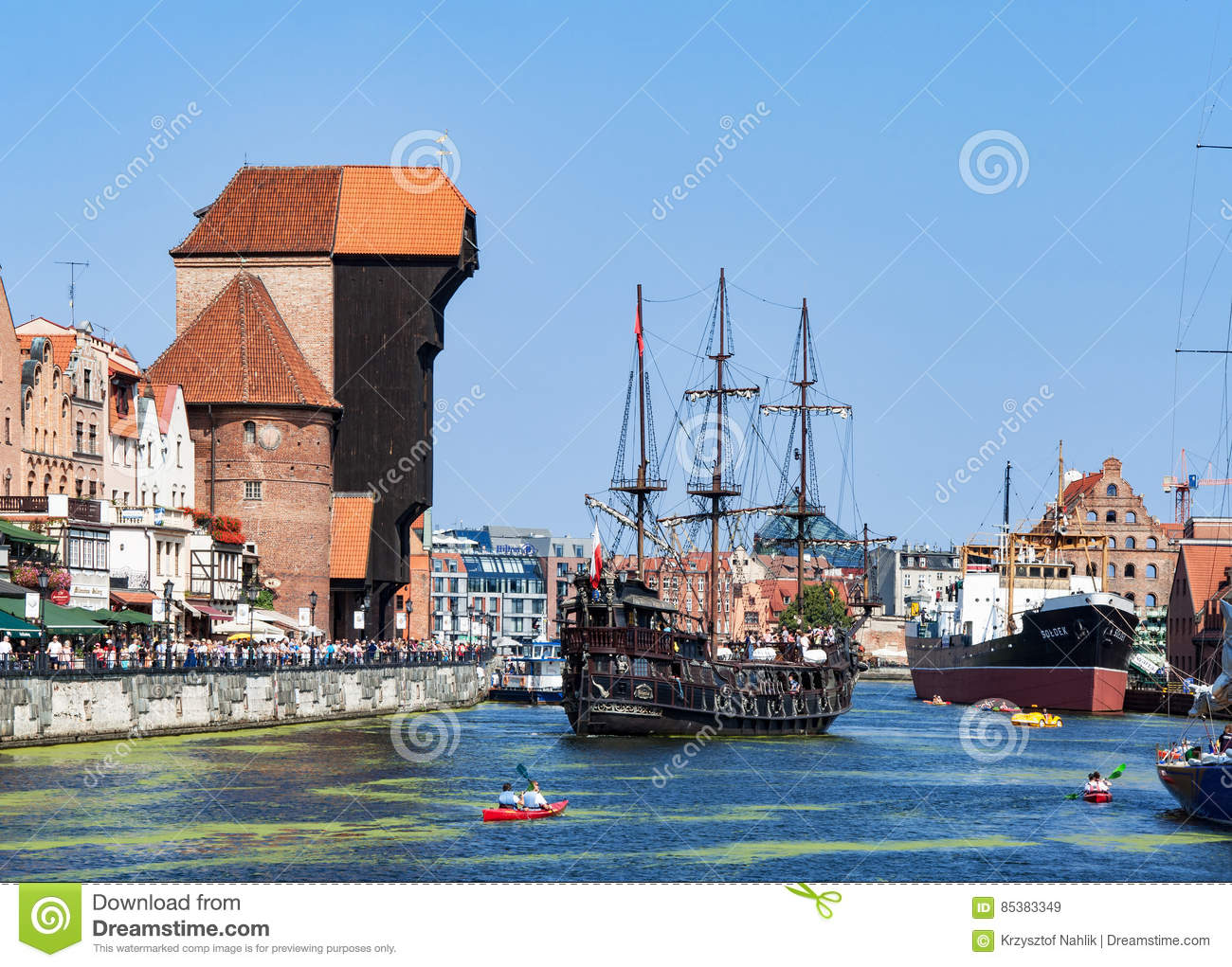 Gdansk, Poland. Medieval crane and pirate ship