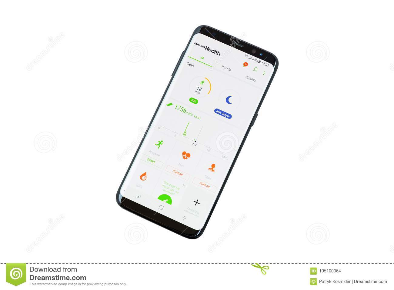 Smartphone With Samsung Health Application