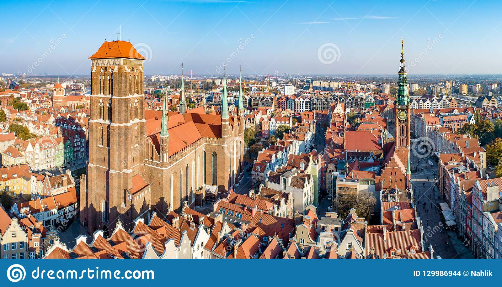 Gdansk old city, Poland. Aerial panorama