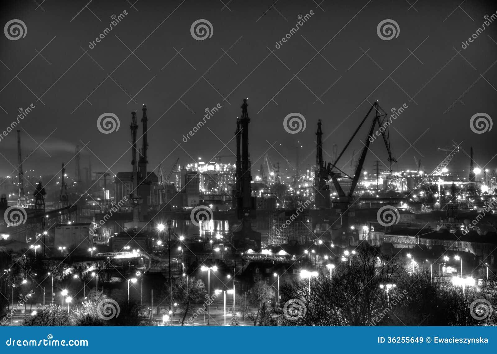 Panorama of gdansk shipyard photo black white by night