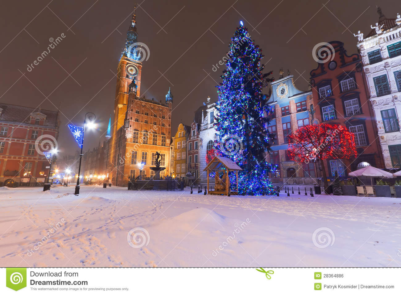 Gdansk In Winter Scenery With Christmas Tree Royalty Free