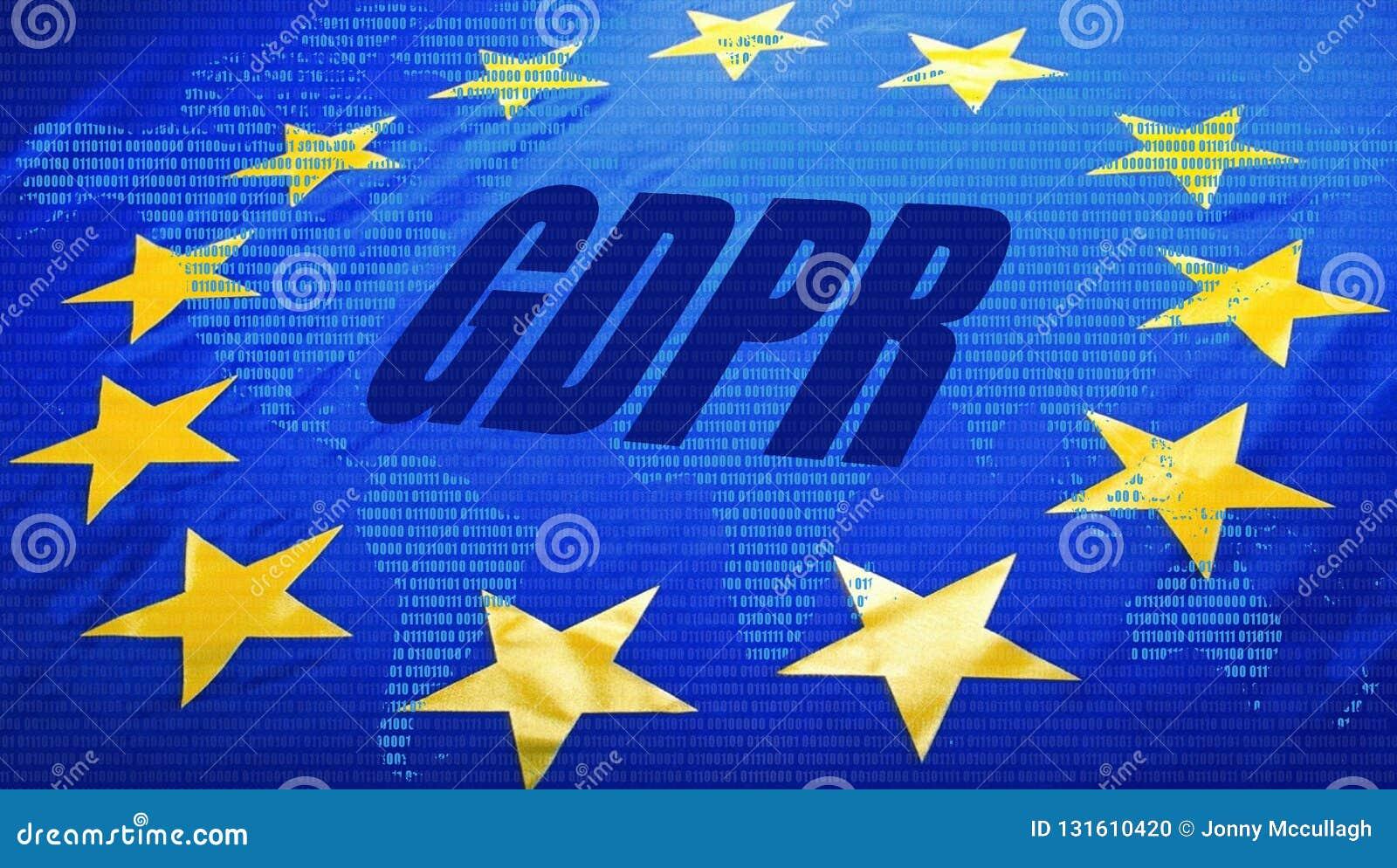 GDPR över EU-flagga och världskarta