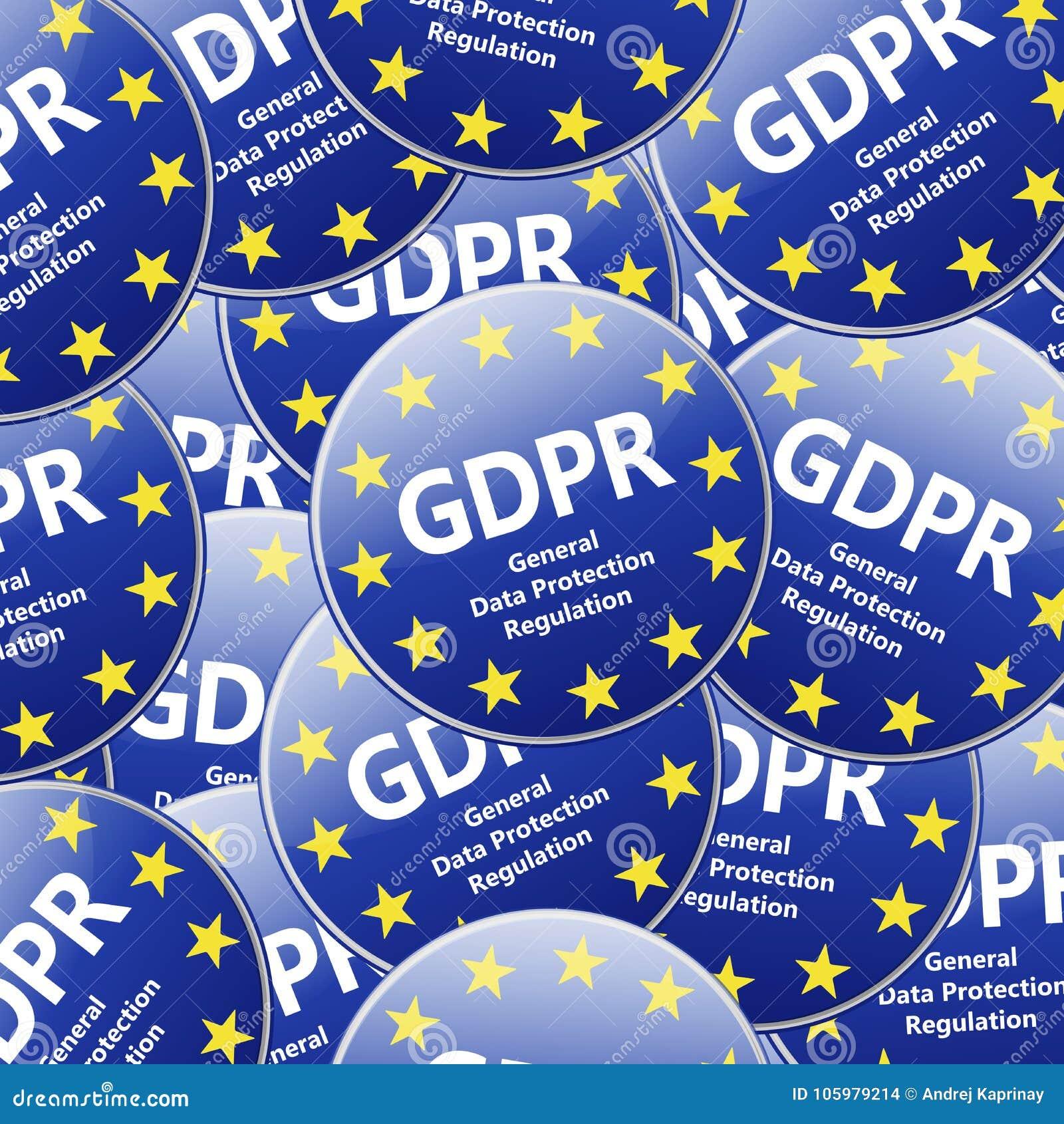 GDPR - Allgemeine Daten-Schutz-Regelung Mehrfaches Zeichen illustr