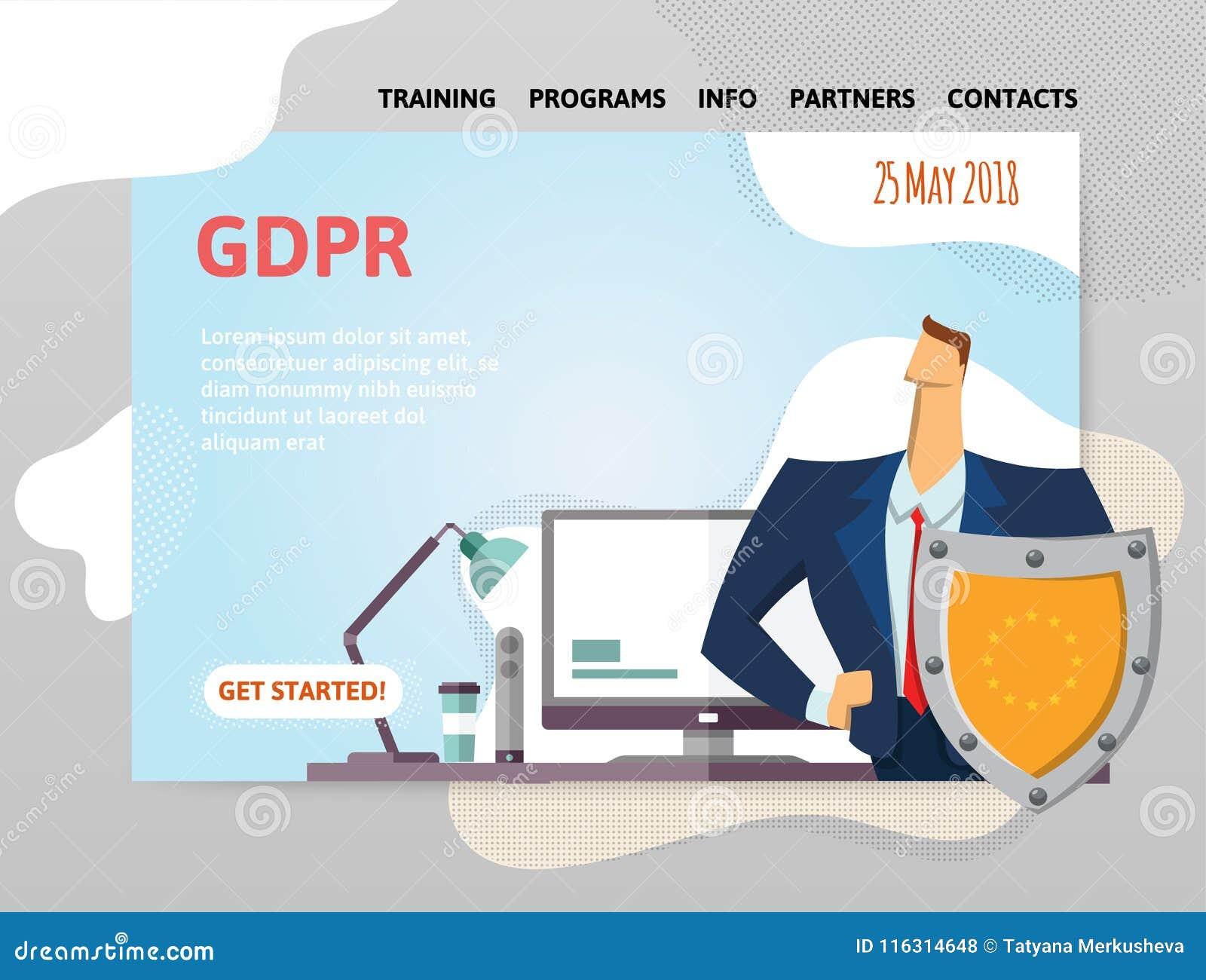GDPR-datum Reglering för skydd för allmänna data Man med en sköld som är främst av datoren Designmall av websiten